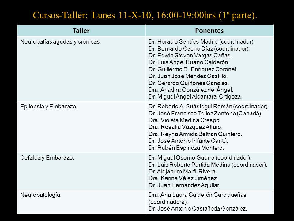 Cursos-Taller: Lunes 11-X-10, 16:00-19:00hrs (1ª parte).