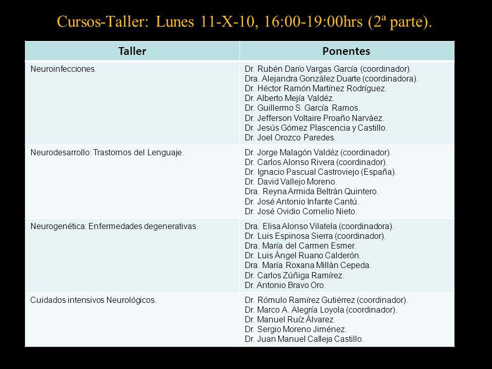Cursos-Taller: Lunes 11-X-10, 16:00-19:00hrs (2ª parte).