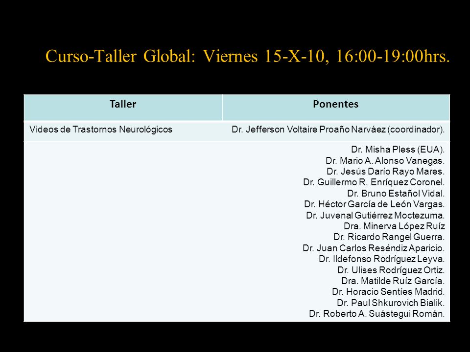 Curso-Taller Global: Viernes 15-X-10, 16:00-19:00hrs.