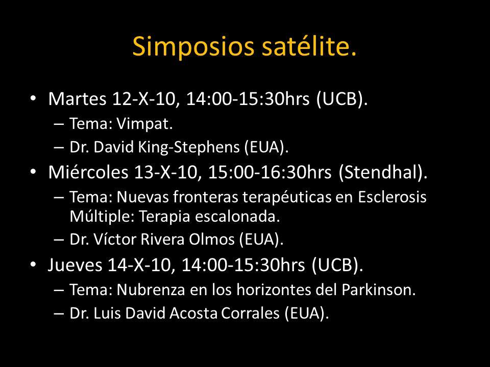 Simposios satélite. Martes 12-X-10, 14:00-15:30hrs (UCB).
