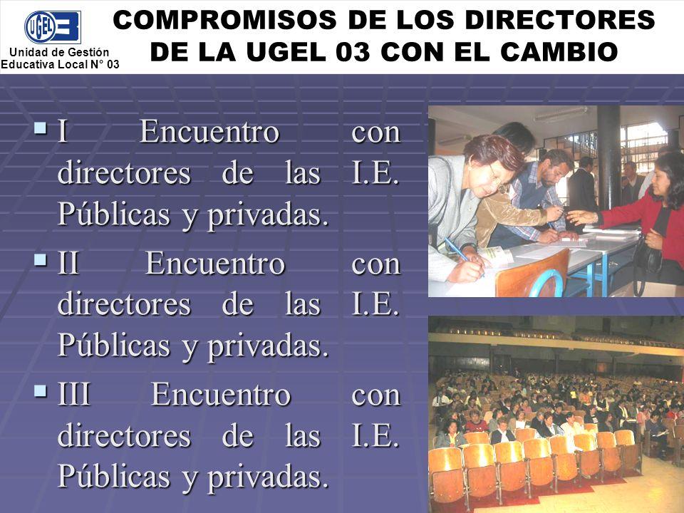 COMPROMISOS DE LOS DIRECTORES DE LA UGEL 03 CON EL CAMBIO