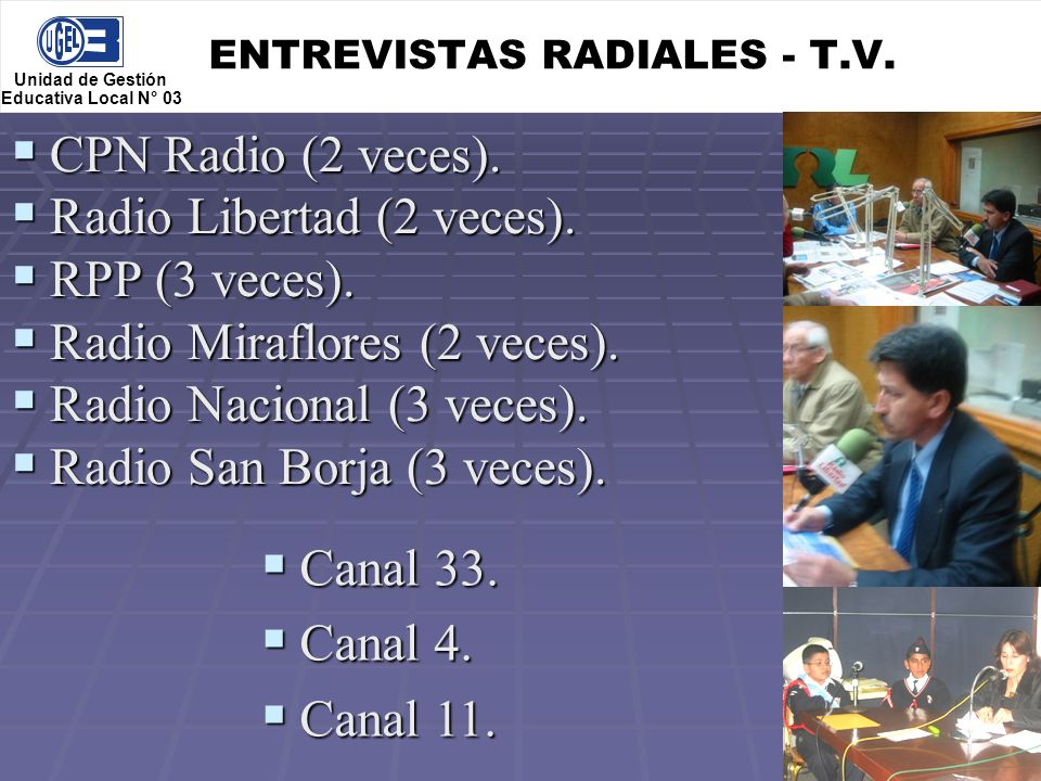 ENTREVISTAS RADIALES - T.V.