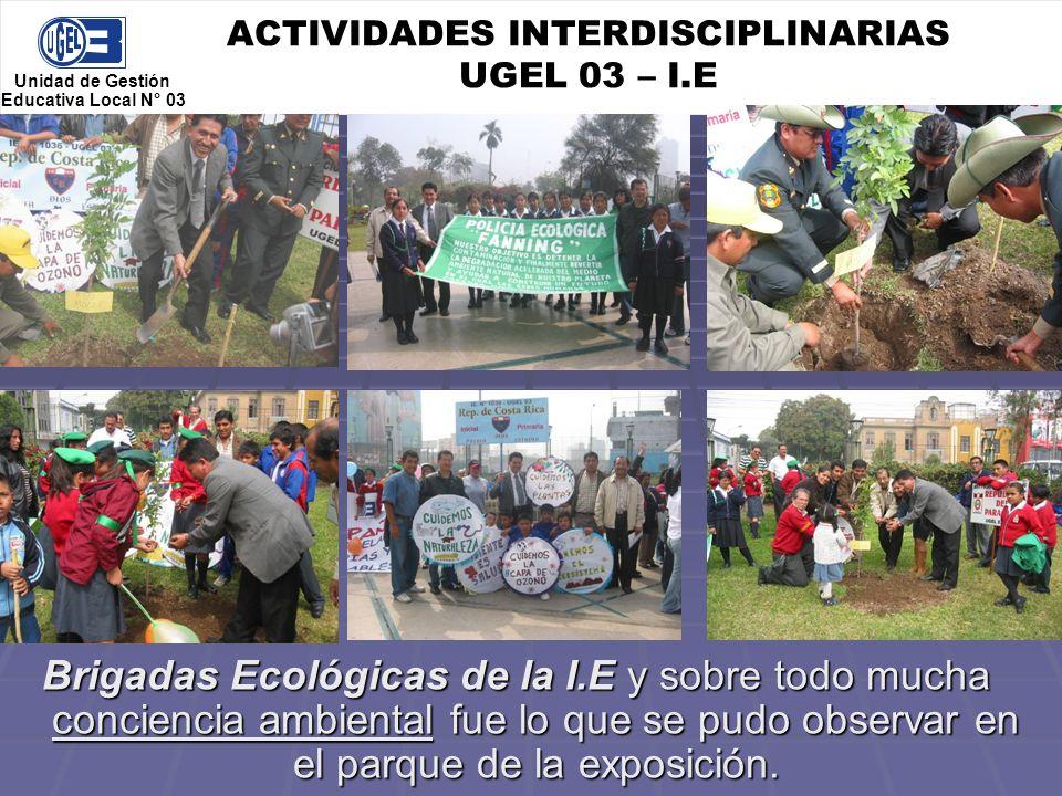 ACTIVIDADES INTERDISCIPLINARIAS UGEL 03 – I.E