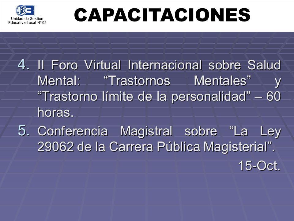CAPACITACIONES Unidad de Gestión. Educativa Local N° 03.