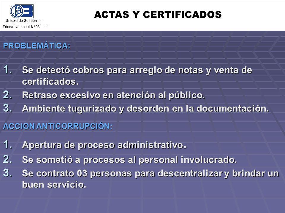 Se detectó cobros para arreglo de notas y venta de certificados.