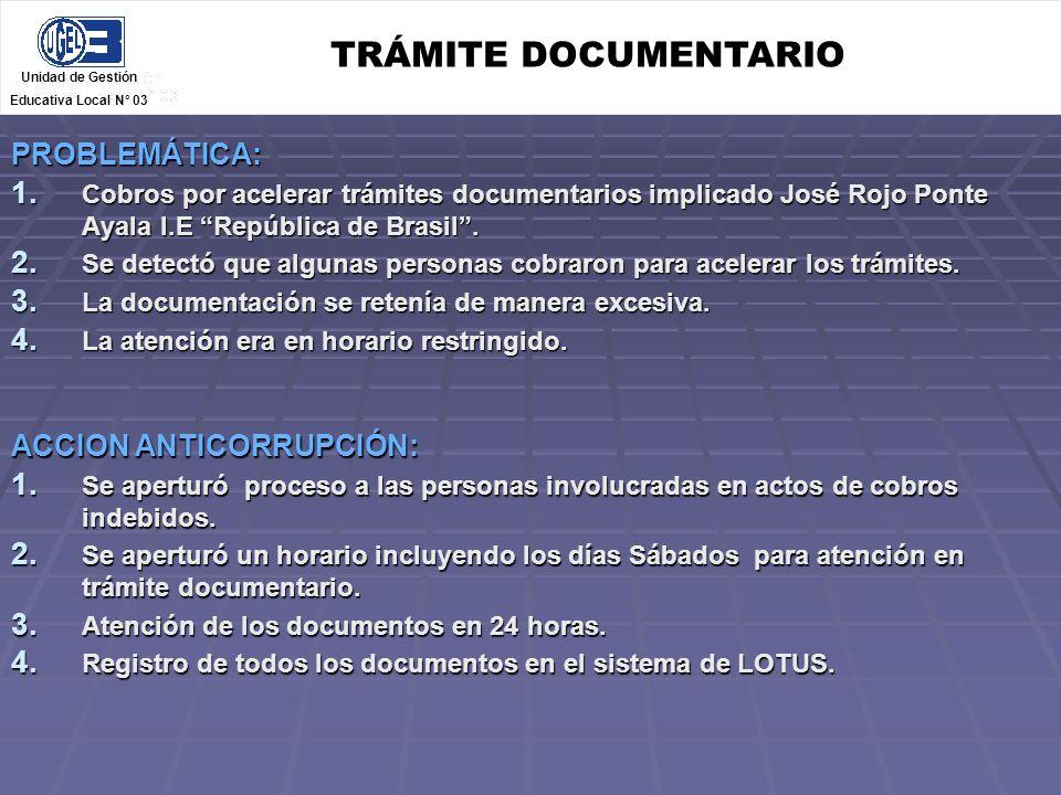 TRÁMITE DOCUMENTARIO PROBLEMÁTICA: ACCION ANTICORRUPCIÓN: