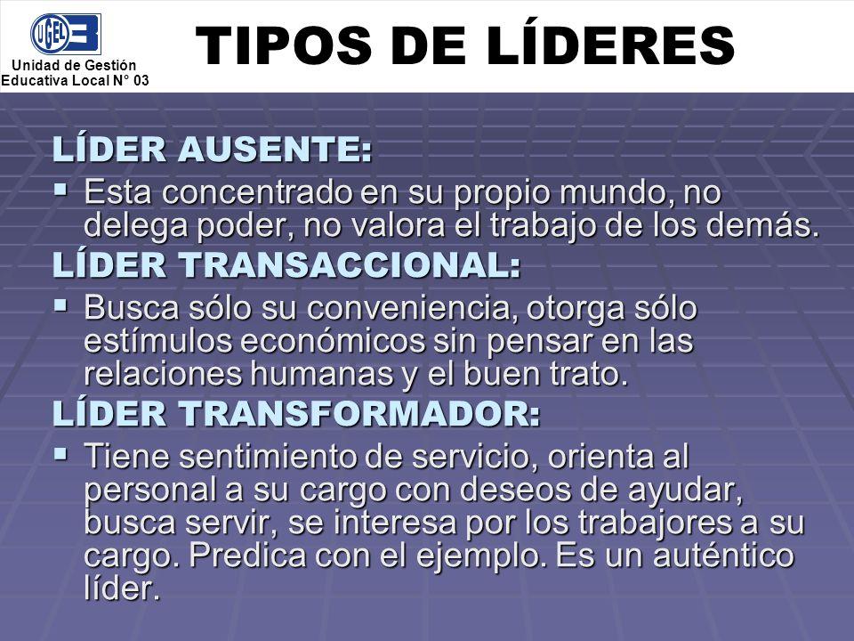 TIPOS DE LÍDERES LÍDER AUSENTE:
