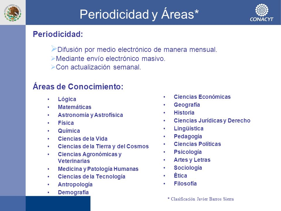 Periodicidad y Áreas* Periodicidad: Difusión por medio electrónico de manera mensual. Mediante envío electrónico masivo.