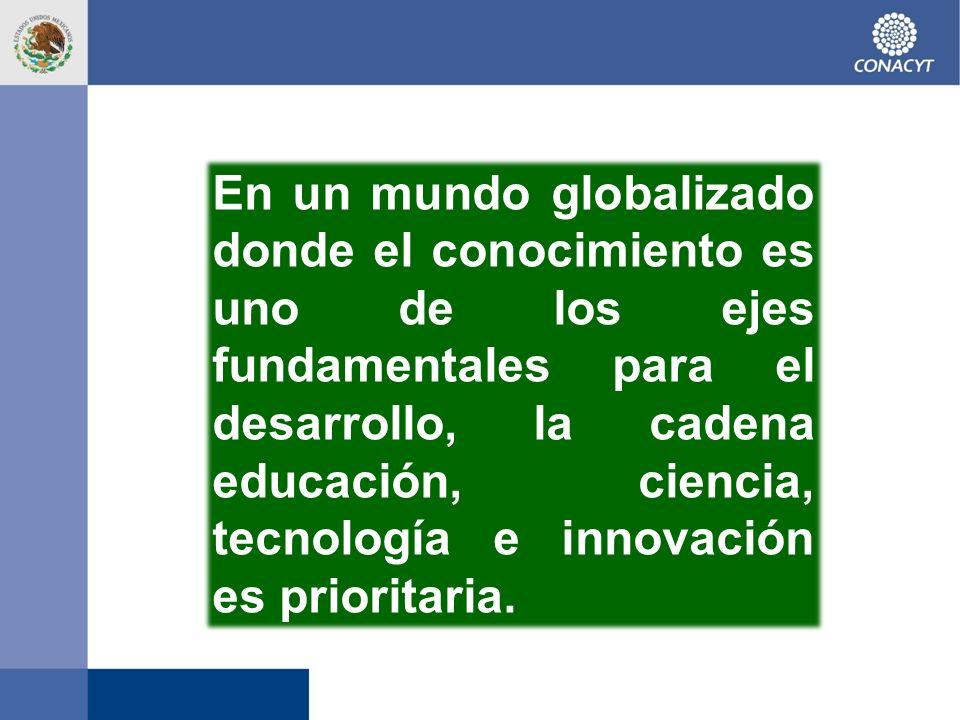 En un mundo globalizado donde el conocimiento es uno de los ejes fundamentales para el desarrollo, la cadena educación, ciencia, tecnología e innovación es prioritaria.