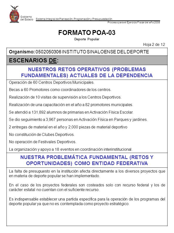 FORMATO POA-03 ESCENARIOS DE: