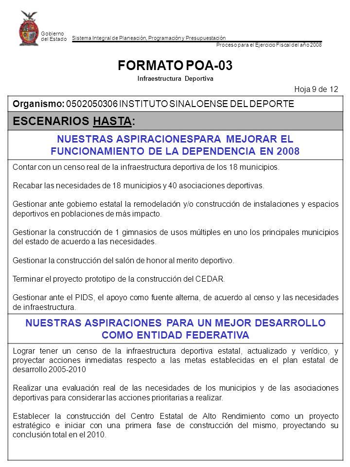 FORMATO POA-03 ESCENARIOS HASTA: