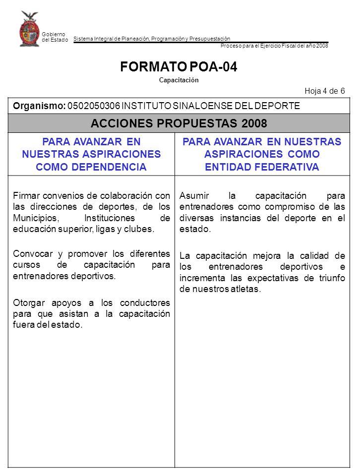 FORMATO POA-04 ACCIONES PROPUESTAS 2008
