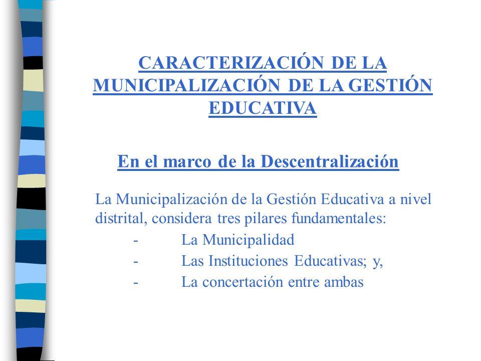 CARACTERIZACIÓN DE LA MUNICIPALIZACIÓN DE LA GESTIÓN EDUCATIVA