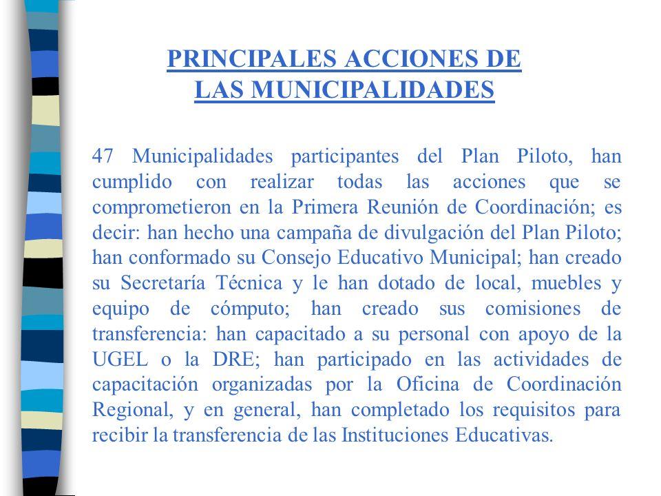 PRINCIPALES ACCIONES DE LAS MUNICIPALIDADES
