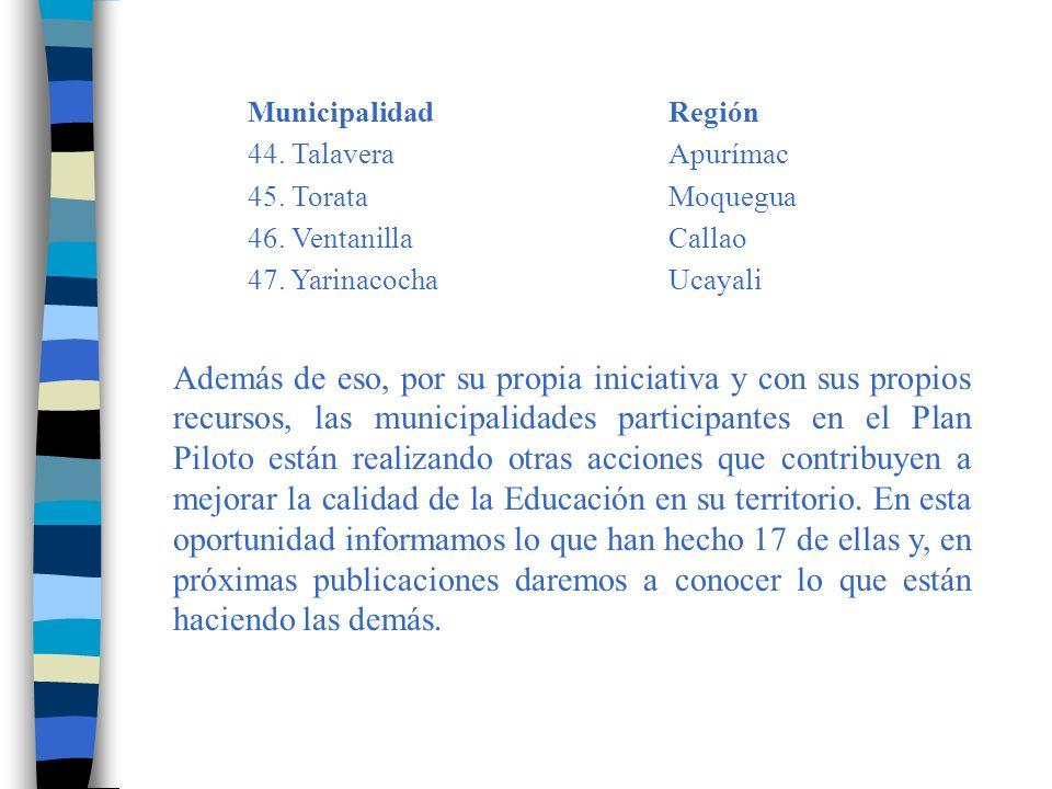 Municipalidad Región 44. Talavera Apurímac. 45. Torata Moquegua. 46. Ventanilla Callao. 47. Yarinacocha Ucayali.