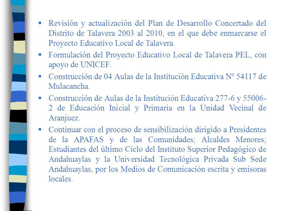 Revisión y actualización del Plan de Desarrollo Concertado del Distrito de Talavera 2003 al 2010, en el que debe enmarcarse el Proyecto Educativo Local de Talavera.