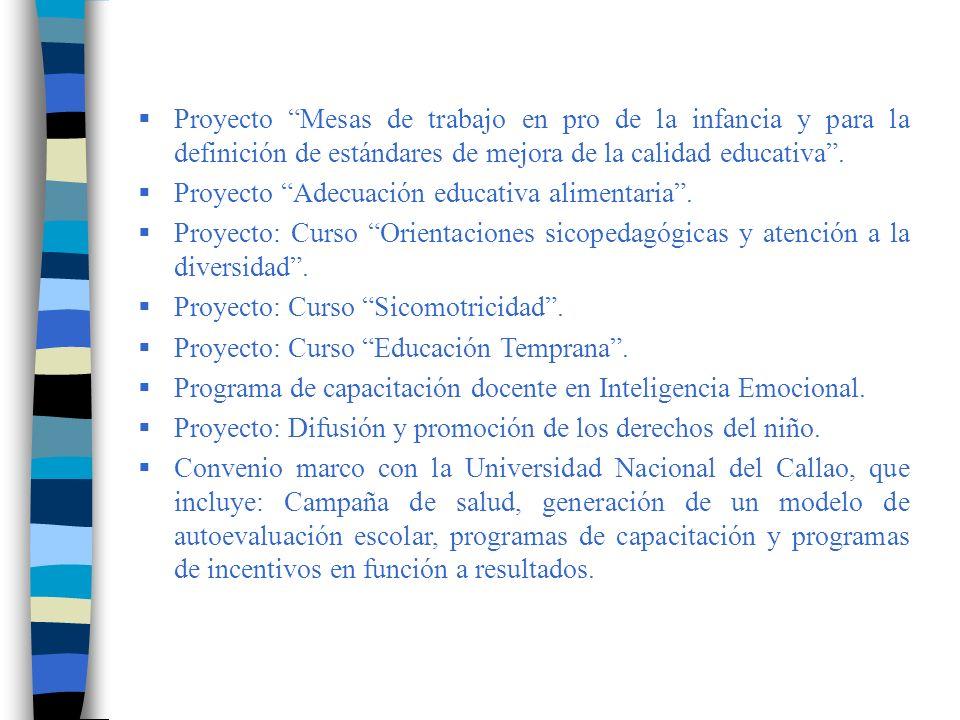 Proyecto Mesas de trabajo en pro de la infancia y para la definición de estándares de mejora de la calidad educativa .