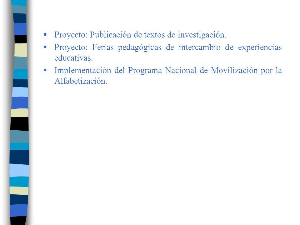 Proyecto: Publicación de textos de investigación.