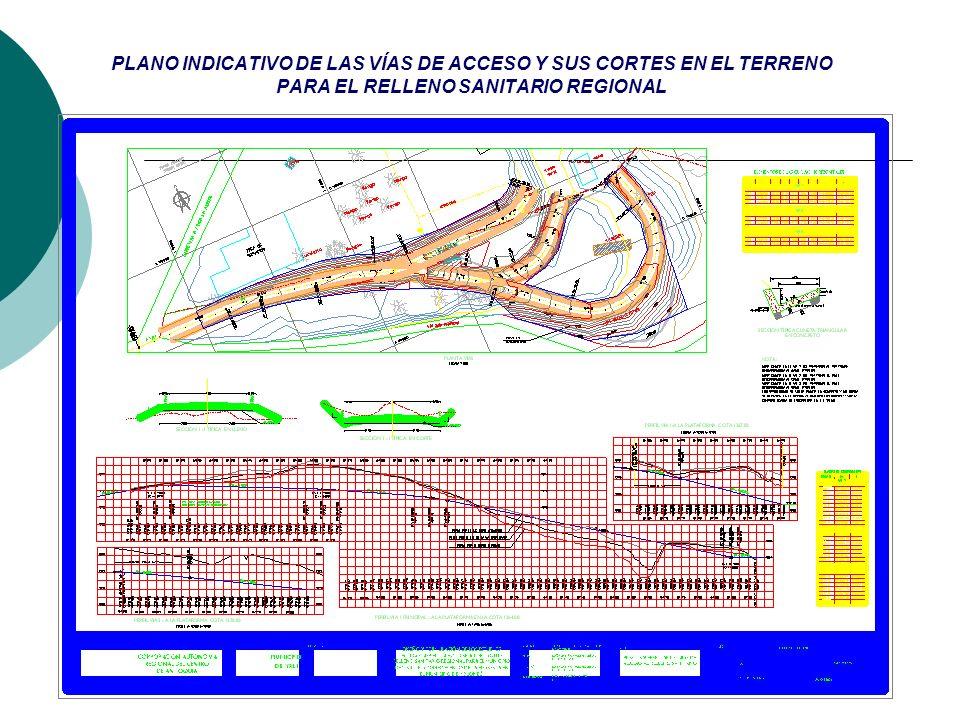 PLANO INDICATIVO DE LAS VÍAS DE ACCESO Y SUS CORTES EN EL TERRENO PARA EL RELLENO SANITARIO REGIONAL