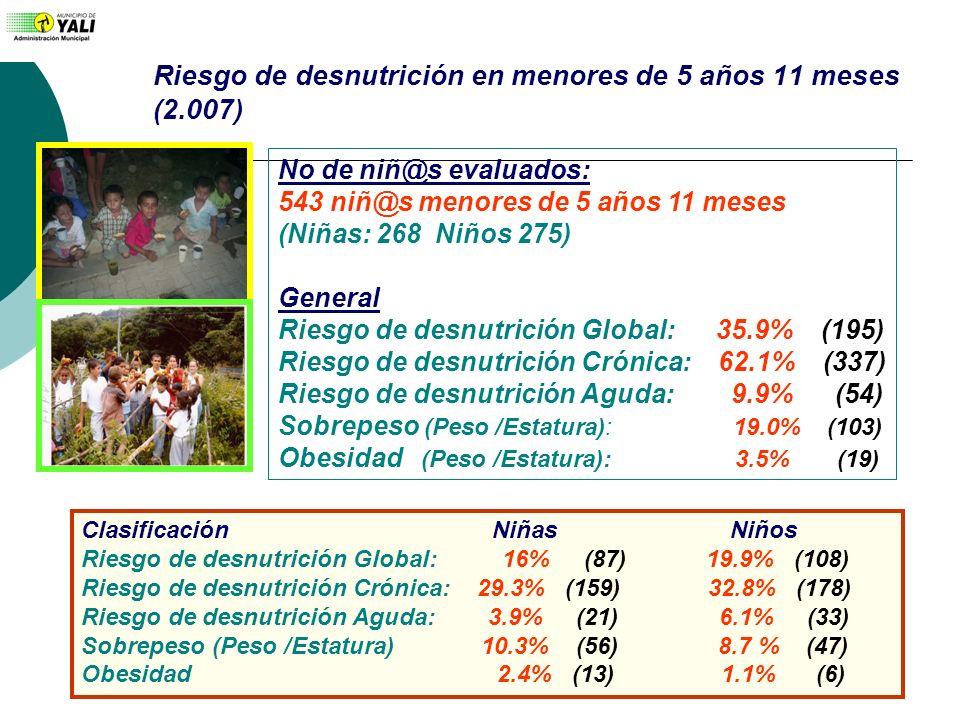 Riesgo de desnutrición en menores de 5 años 11 meses (2.007)