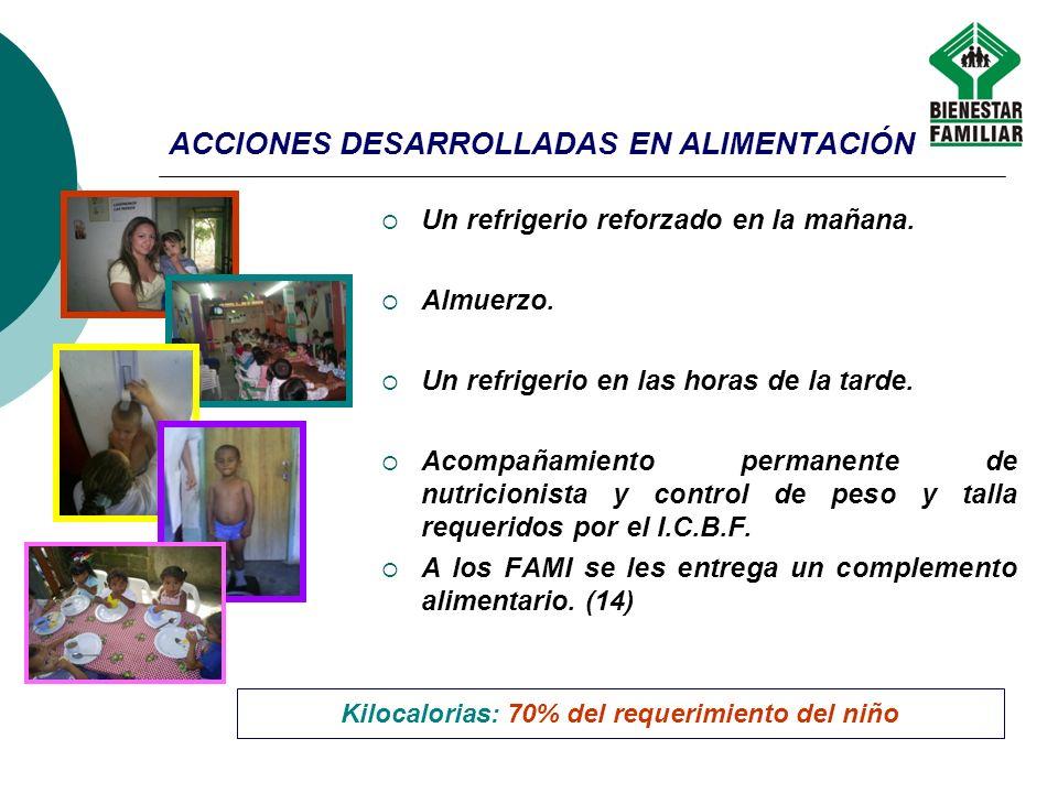 ACCIONES DESARROLLADAS EN ALIMENTACIÓN