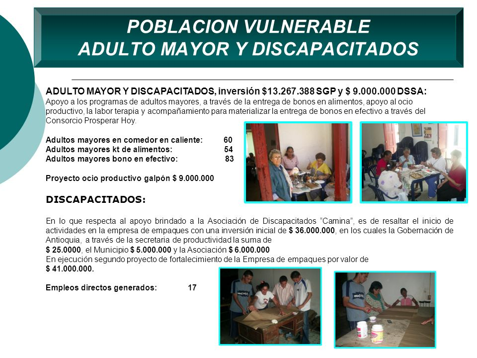 POBLACION VULNERABLE ADULTO MAYOR Y DISCAPACITADOS