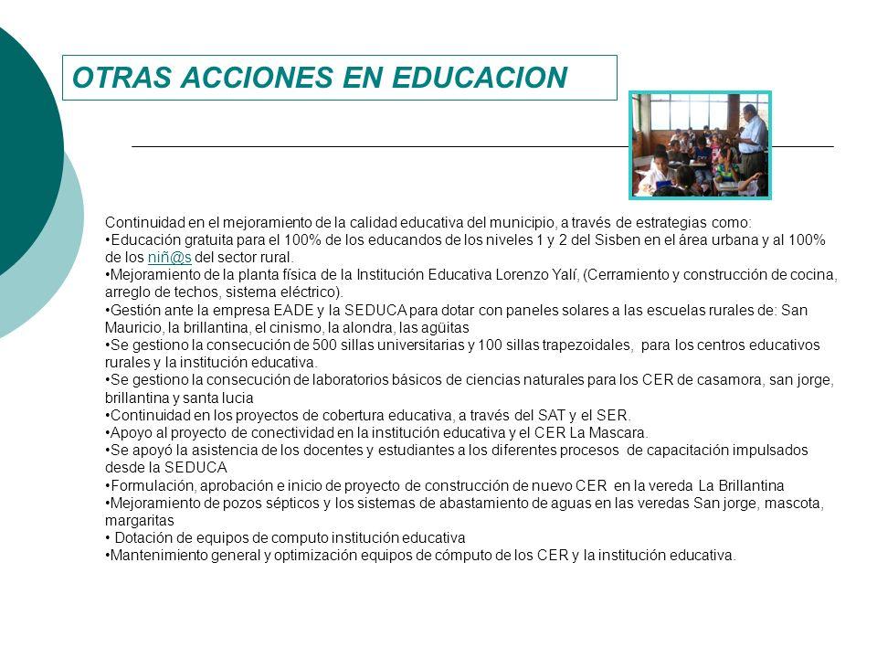 OTRAS ACCIONES EN EDUCACION