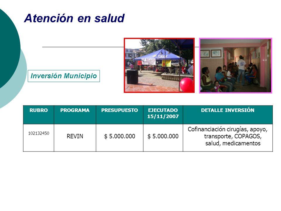 Atención en salud Inversión Municipio REVIN $ 5.000.000