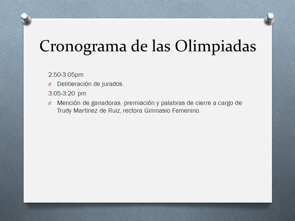 Cronograma de las Olimpiadas