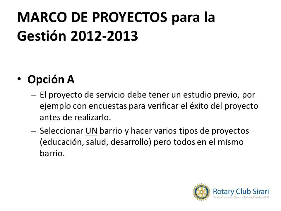 MARCO DE PROYECTOS para la Gestión 2012-2013