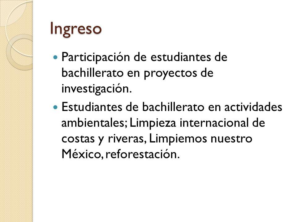 Ingreso Participación de estudiantes de bachillerato en proyectos de investigación.