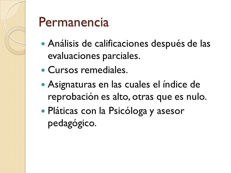 Permanencia Análisis de calificaciones después de las evaluaciones parciales. Cursos remediales.