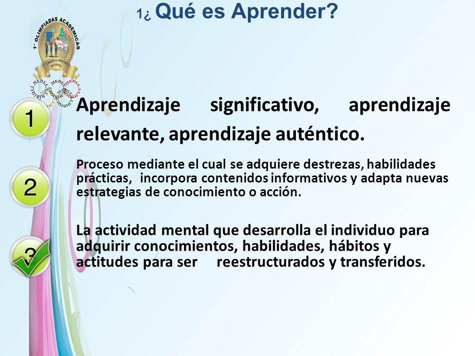 1¿ Qué es Aprender Aprendizaje significativo, aprendizaje relevante, aprendizaje auténtico.