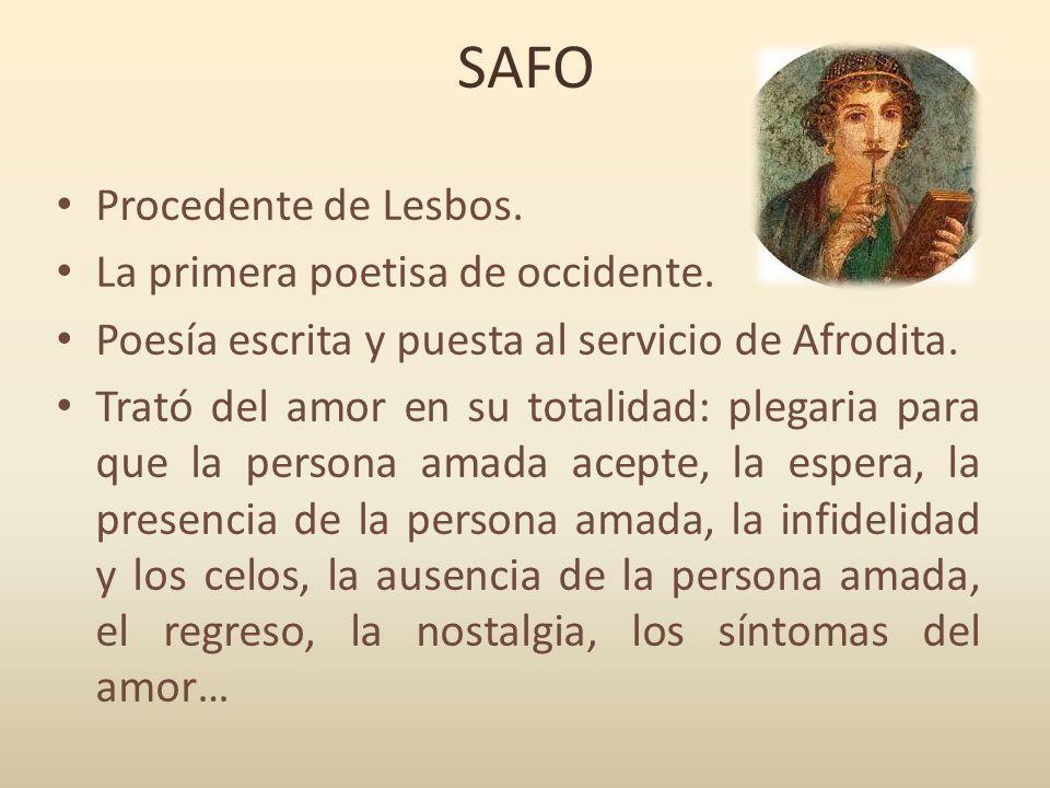 SAFO Procedente de Lesbos. La primera poetisa de occidente.