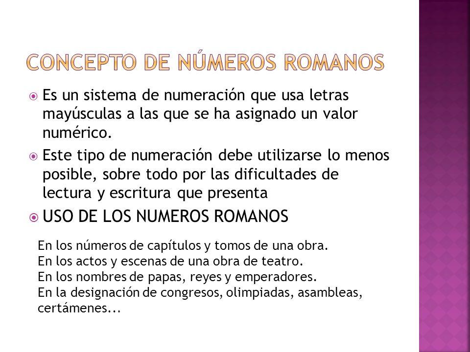 CONCEPTO DE NÚMEROS ROMANOS