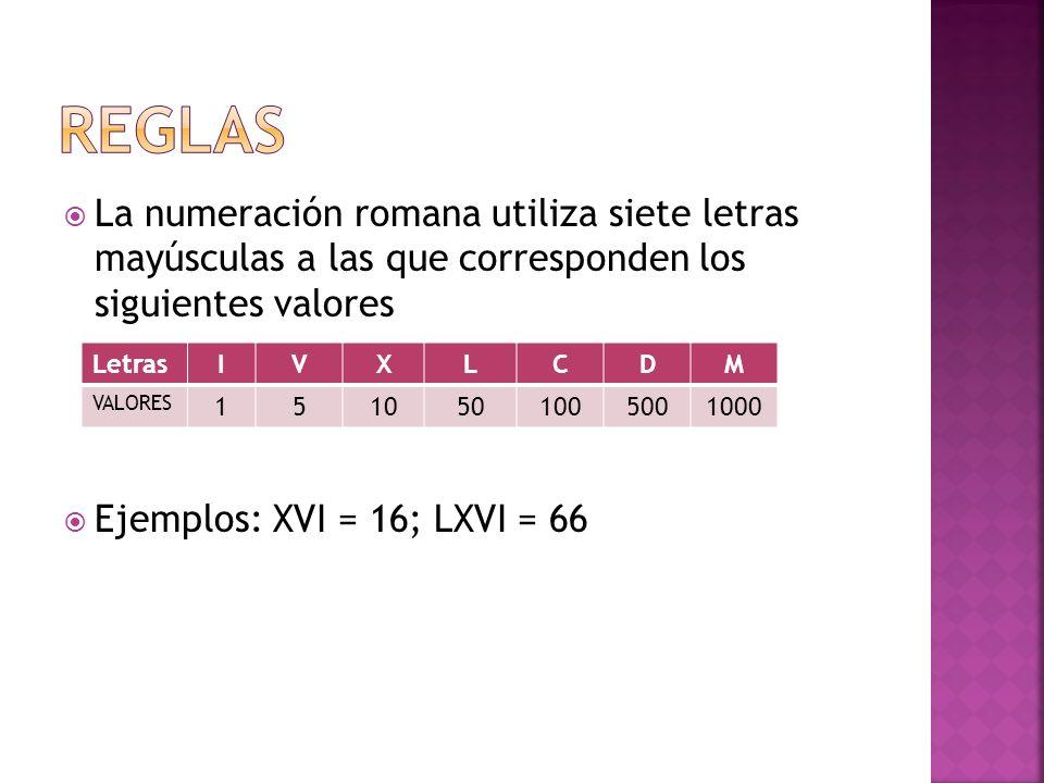 REGLAS La numeración romana utiliza siete letras mayúsculas a las que corresponden los siguientes valores.