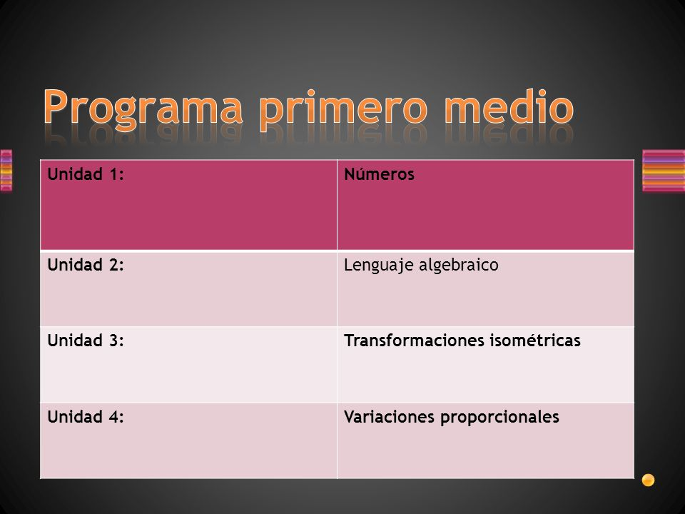 Programa primero medio