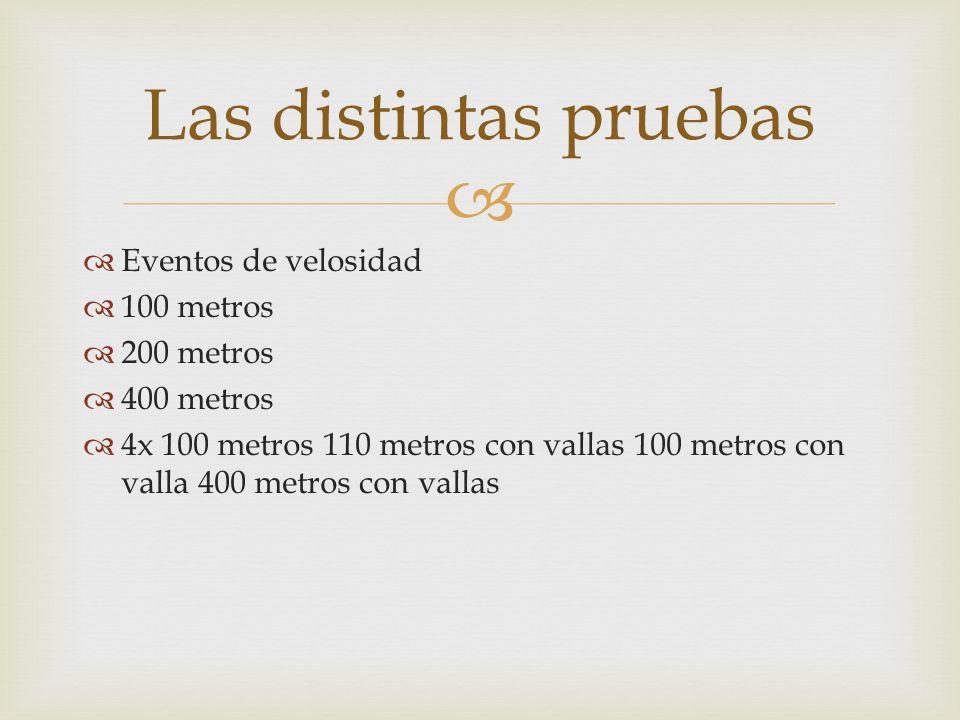 Las distintas pruebas Eventos de velosidad 100 metros 200 metros