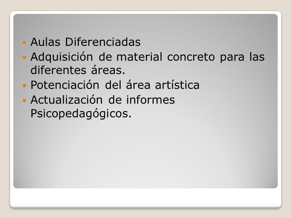 Aulas Diferenciadas Adquisición de material concreto para las diferentes áreas. Potenciación del área artística.