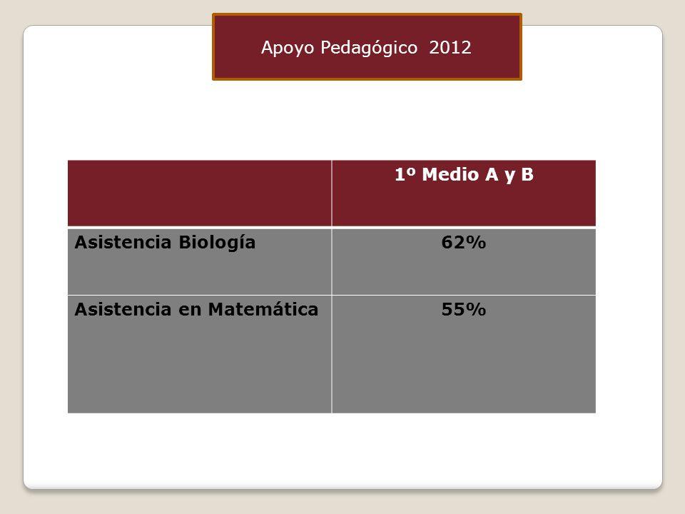 Apoyo Pedagógico 2012 1º Medio A y B Asistencia Biología 62% Asistencia en Matemática 55%