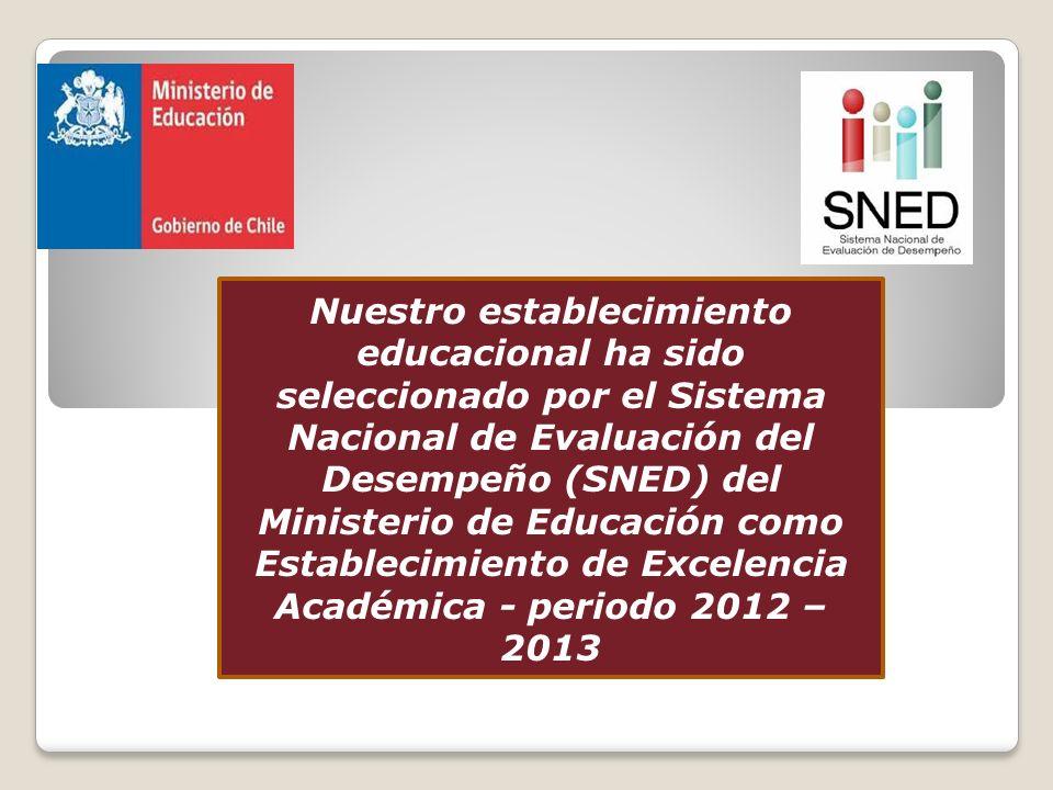 Nuestro establecimiento educacional ha sido seleccionado por el Sistema Nacional de Evaluación del Desempeño (SNED) del Ministerio de Educación como Establecimiento de Excelencia Académica - periodo 2012 – 2013
