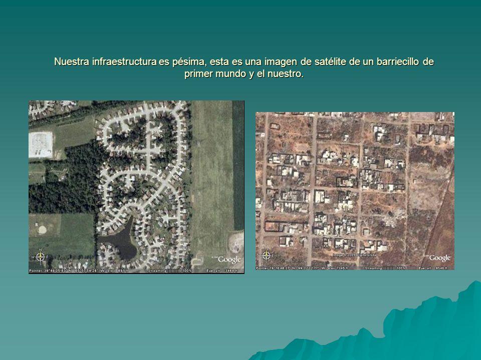 Nuestra infraestructura es pésima, esta es una imagen de satélite de un barriecillo de primer mundo y el nuestro.