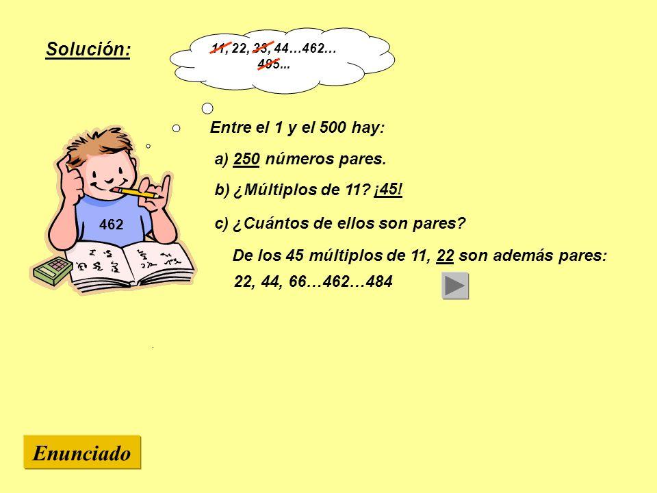 Enunciado Solución: Entre el 1 y el 500 hay: a) 250 números pares.