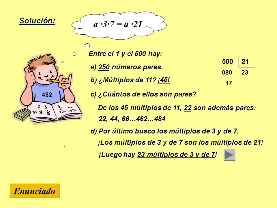 a ·3·7 = a ·21 Enunciado Solución: Entre el 1 y el 500 hay: