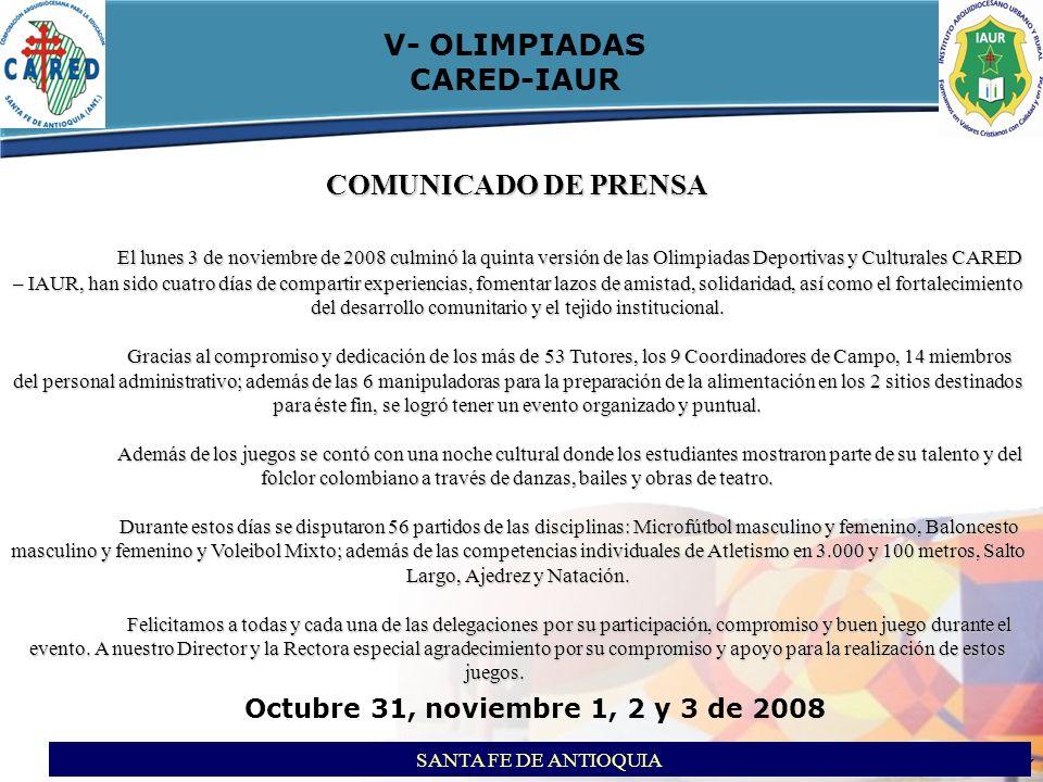 V- OLIMPIADAS CARED-IAUR COMUNICADO DE PRENSA