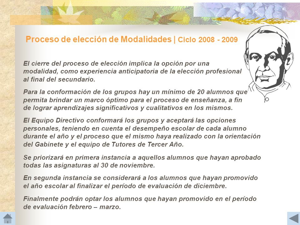 Proceso de elección de Modalidades | Ciclo 2008 - 2009