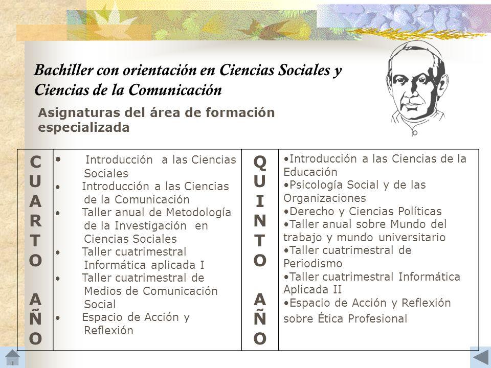 Bachiller con orientación en Ciencias Sociales y Ciencias de la Comunicación