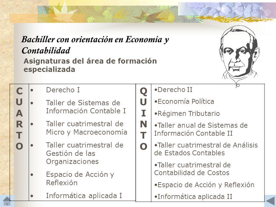 Bachiller con orientación en Economía y Contabilidad C U A R T O Q U I