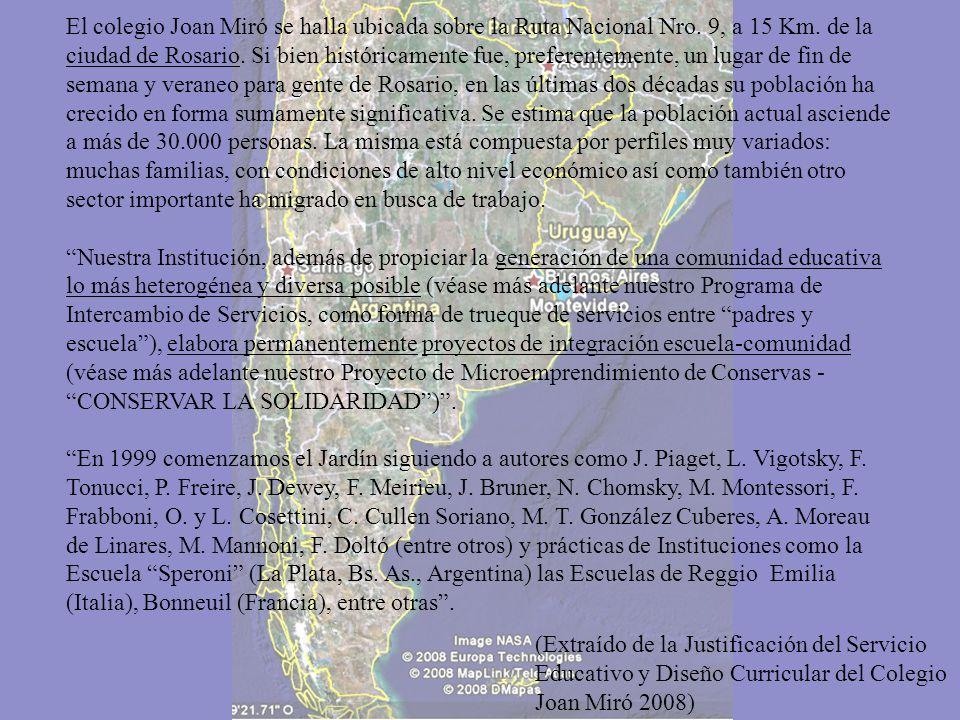 El colegio Joan Miró se halla ubicada sobre la Ruta Nacional Nro