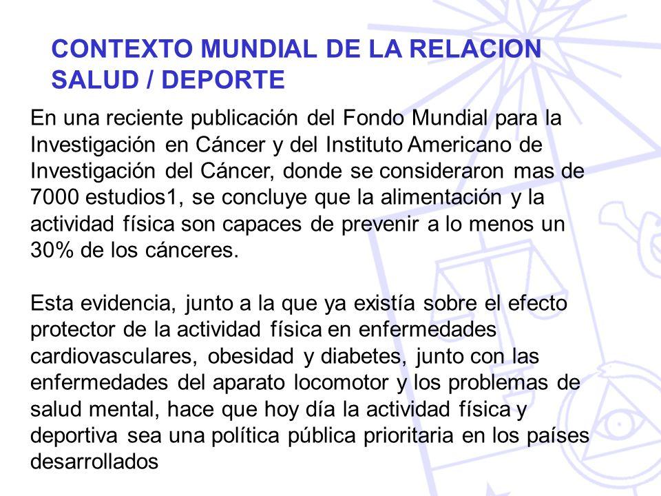CONTEXTO MUNDIAL DE LA RELACION SALUD / DEPORTE